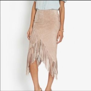 Suede Intermix Fringe Skirt. Small.